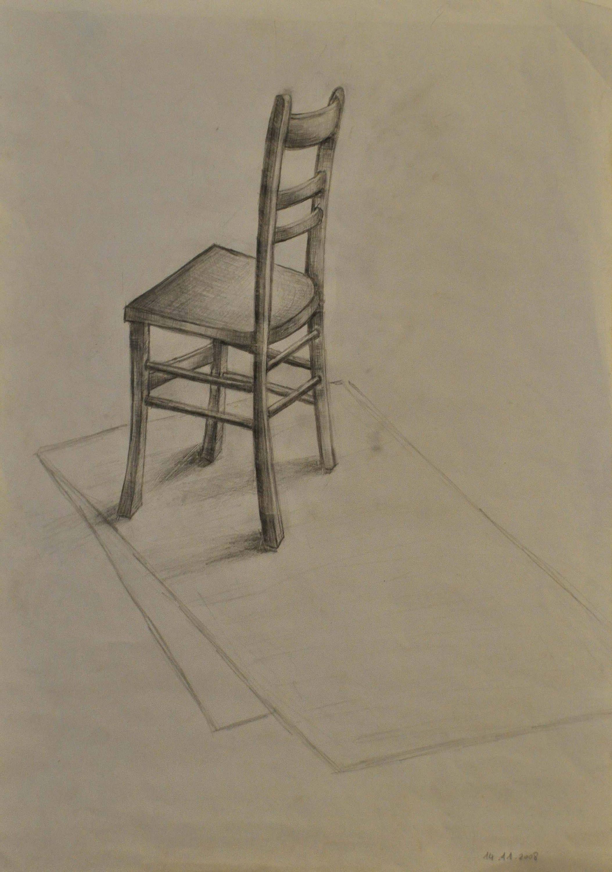Bleistiftzeichnung Stuhl Mit Bleistiftstudie Studie Stillleben lKJFc1