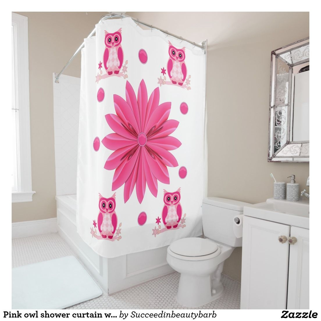 Owl shower curtains - Pink Owl Shower Curtain With White Background
