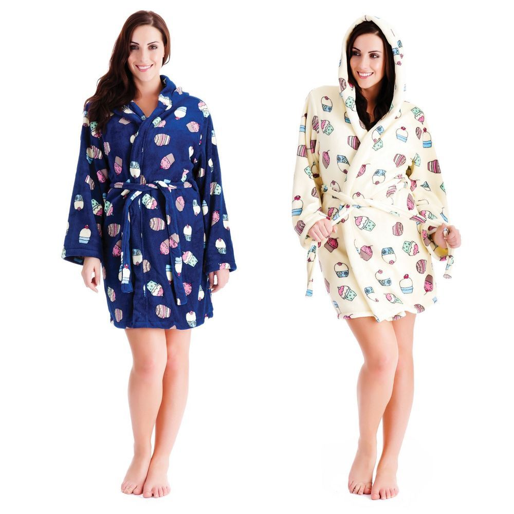 Ladies Women Dressing Gown Bath Robe Cup Cake Print Coral Fleece ...