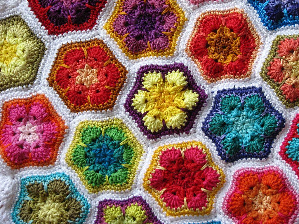 African Flower Hexagon ~free pattern~ | Hooker Lounge | Pinterest ...