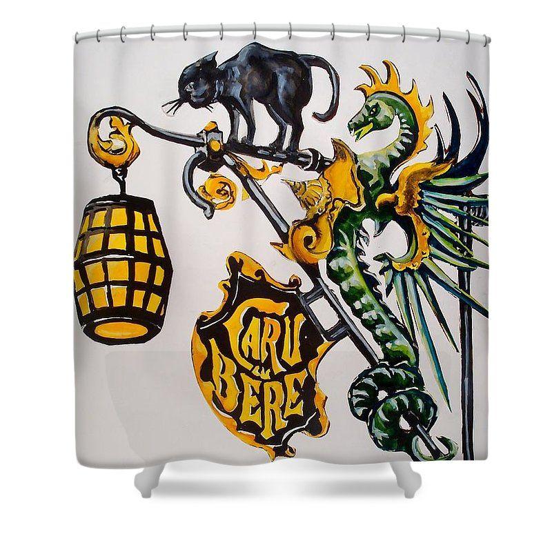 Shop Sign Shower Curtain featuring the painting Caru Cu Bere - Antique Shop Sign by Dora Hathazi Mendes  #dragon #cat #shopsign #antique #wroughtiron #dorahathazi #bucharest #showercurtain
