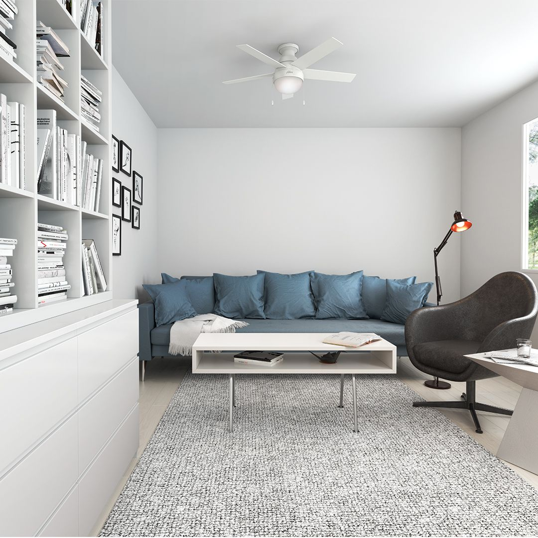 If You Want To Improve Rooms In Your House But Are Stumped By Low Ceilings We Have A Solution Fo Ceiling Fan With Light Cozy Interior Design White Ceiling Fan