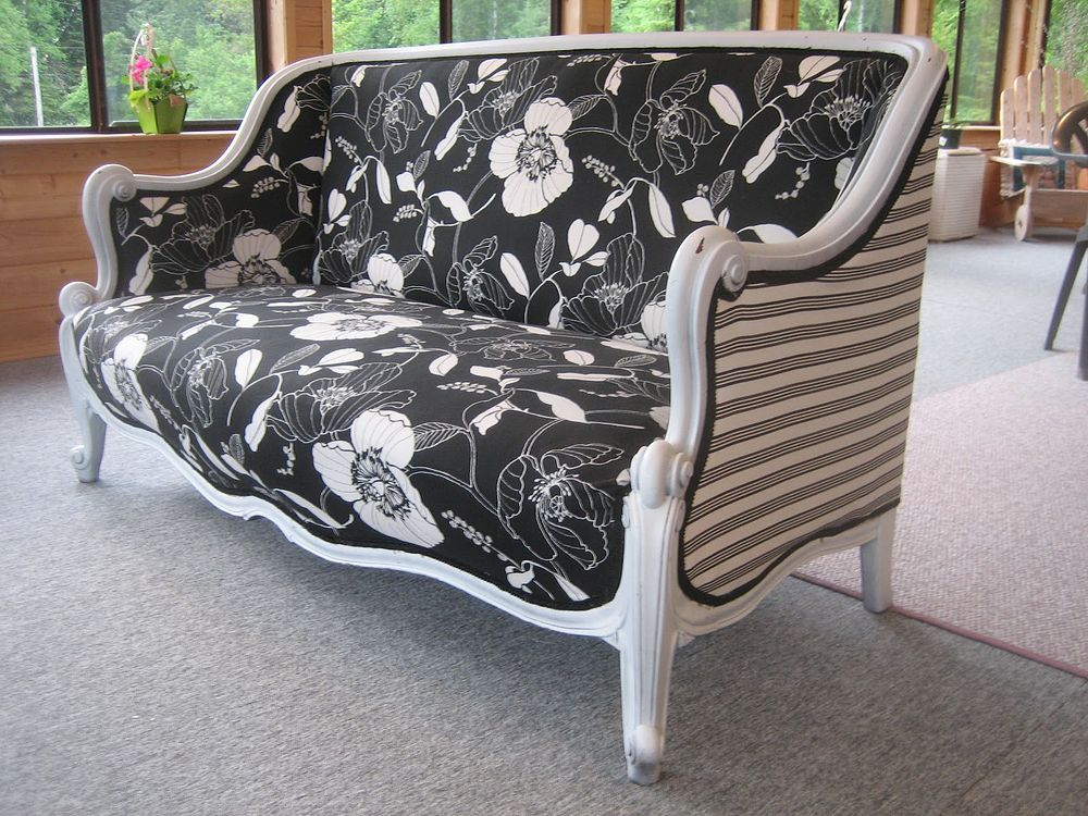 A Beautiful Antique Sofa Reupholstered What An Updated Look