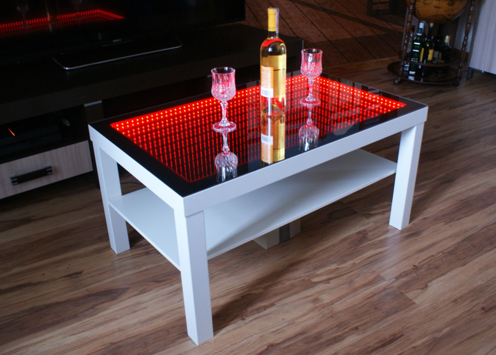 Couchtisch 3d Led White Table Led 3d Coffee Table Illuminated Infinity Mirror Effect