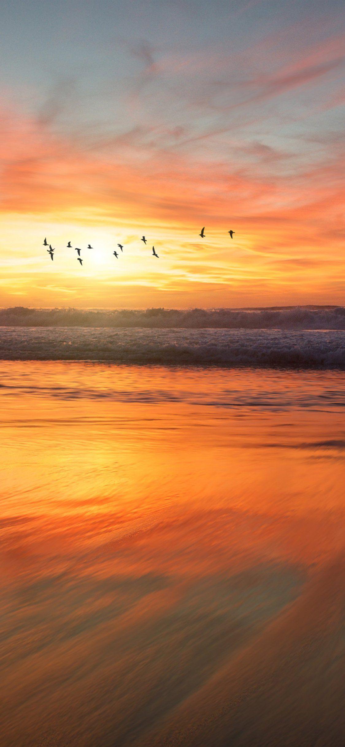 Sunset sea iPhone X wallpaper jolanta wolowicz