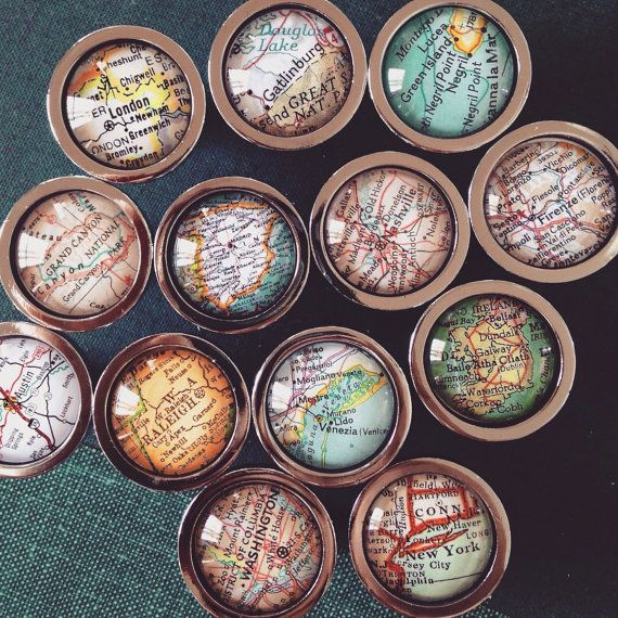 personalized vintage map drawer pull cabinet knob handle you pick city customized map diy. Black Bedroom Furniture Sets. Home Design Ideas