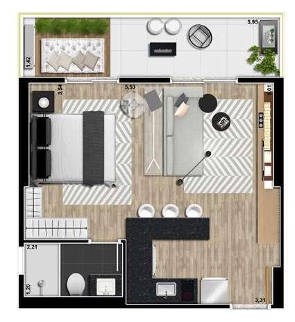 apartamento-planta-40m2-bk30-santana.jpg (425×465)   plans ...