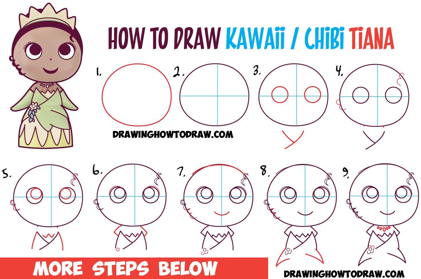 how to draw cute baby chibi kawaii tiana the disney princess easy