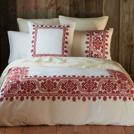 Aari Embroidered Duvet Cover White W Carmine By Coyuchi