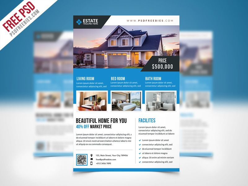 Clean Real Estate Flyer Template Psd  Real Estate Flyers Flyer