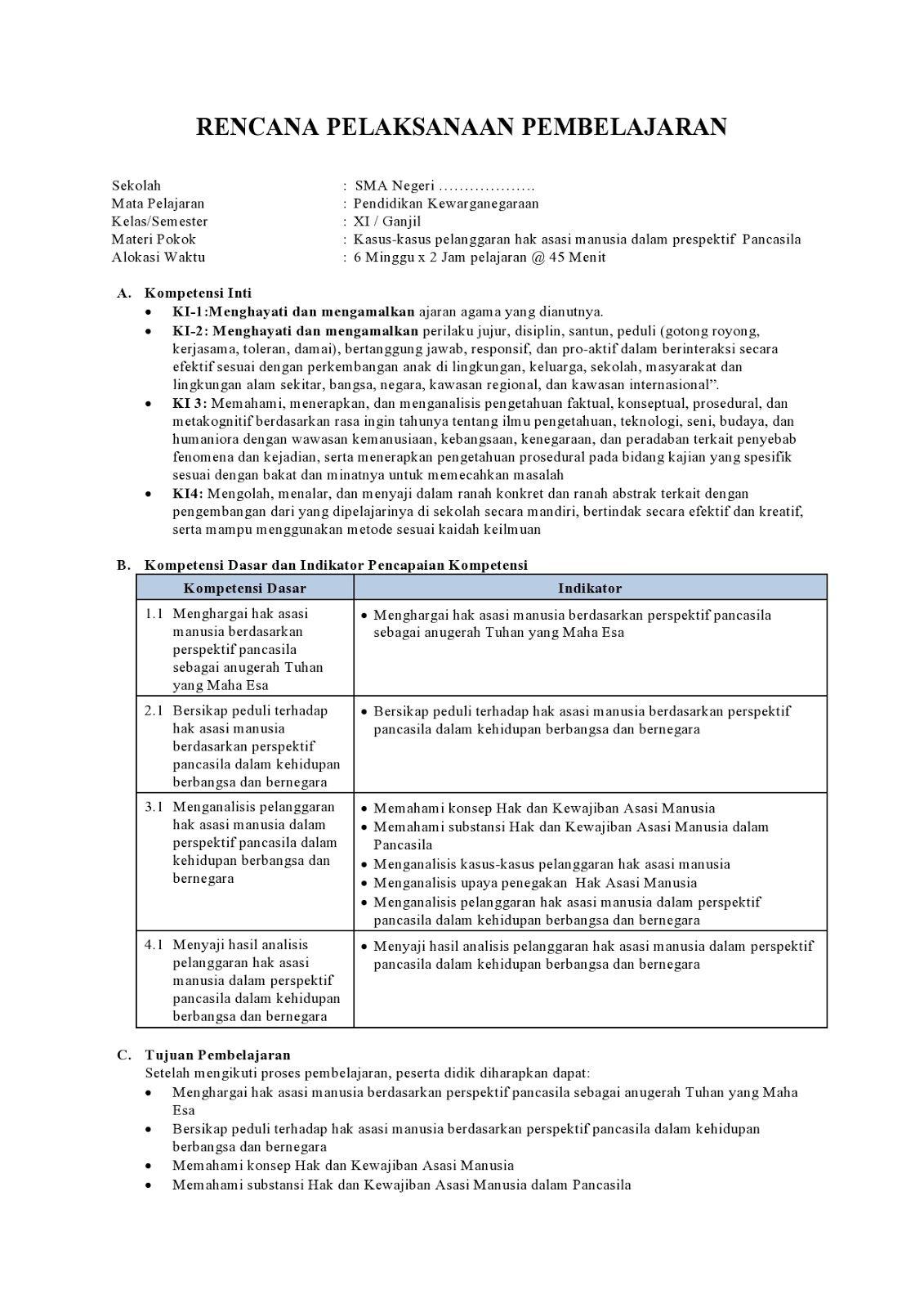 Rpp K13 Ppkn Kelas Xi Sma Sederajat Revisi Terbaru Belajar Kurikulum Pendidikan