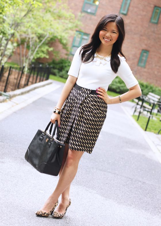 Skirt The Rules Blog  NYC fashion blogger  style blog  spring outfit photo   H cream structured shoulder top  Modcloth geometric printed skirt  ... 3da3d7521