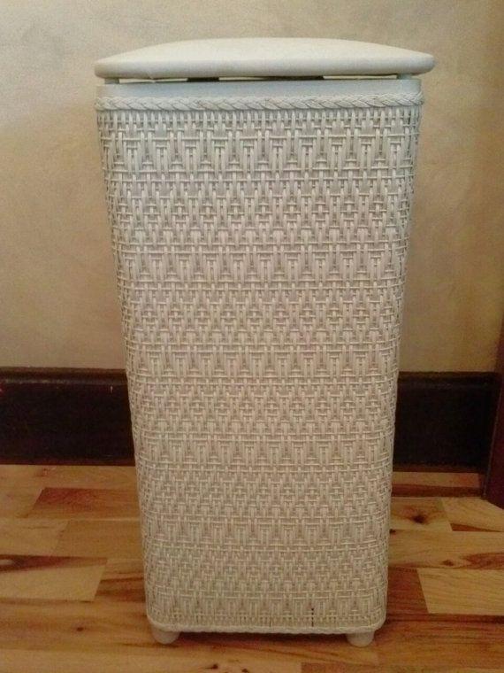 White Wicker Laundry Hamper Shabby Chic Basket Vintage Linen