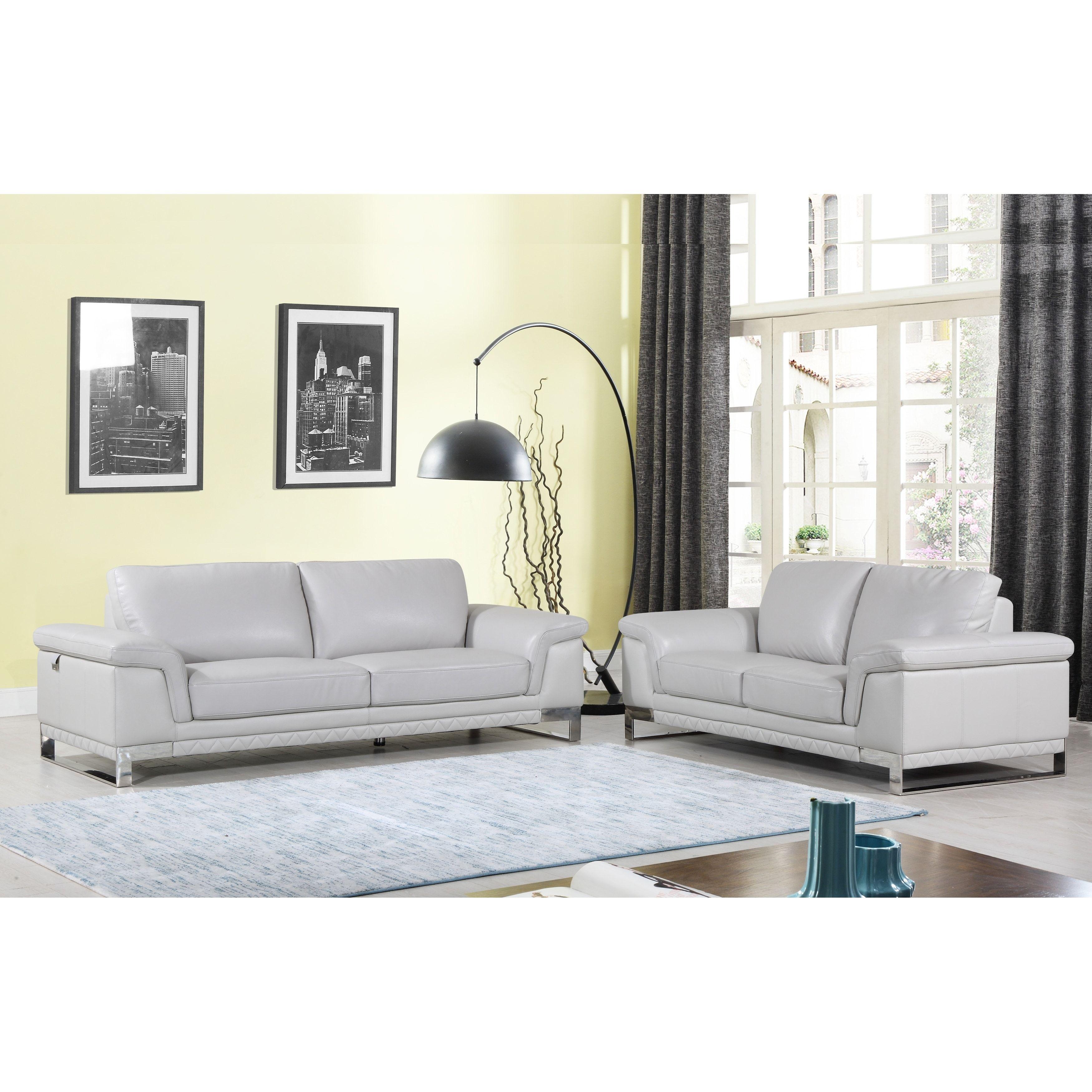 DivanItalia Arezzo Luxury Italian Leather Upholstered 2-Piece Living ...