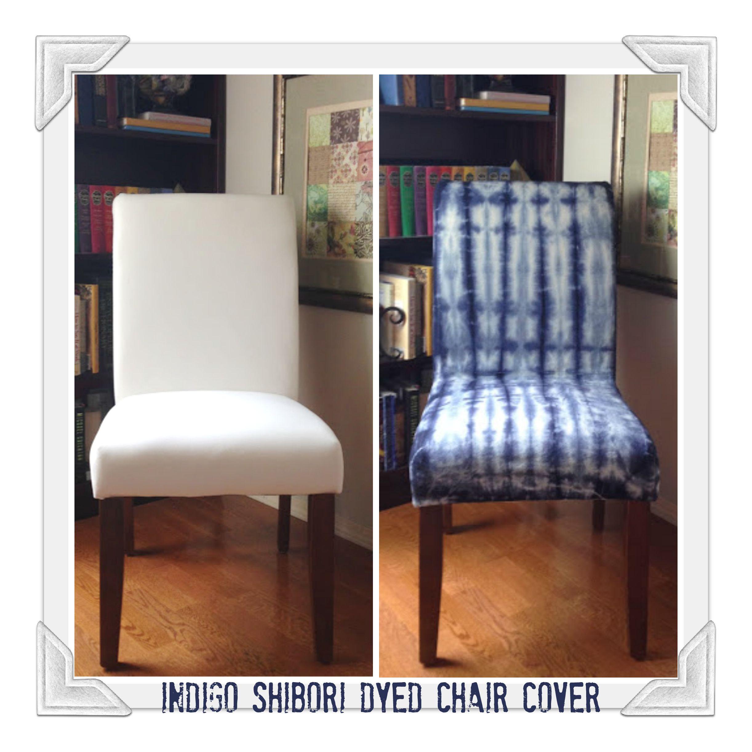 Indigo Shibori Dyed Chair Cover