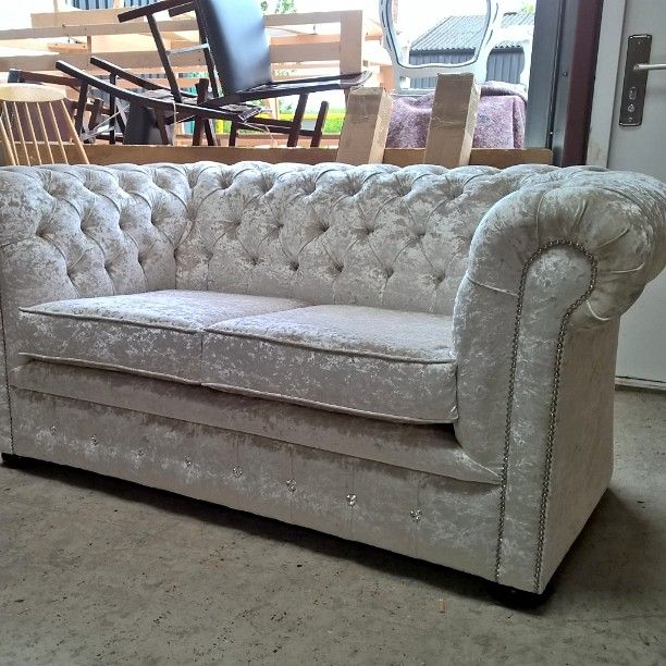 chesterfield sofa with diamonte button detail on front