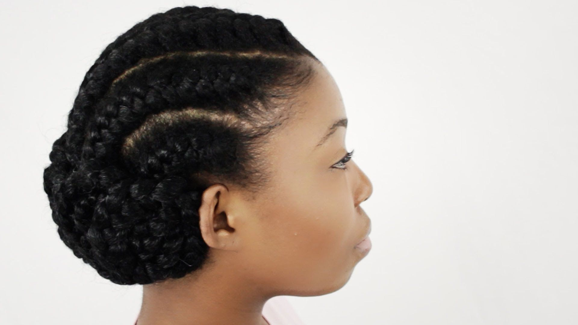 Goddess braids on natural hair finished hairstyle tutorial part