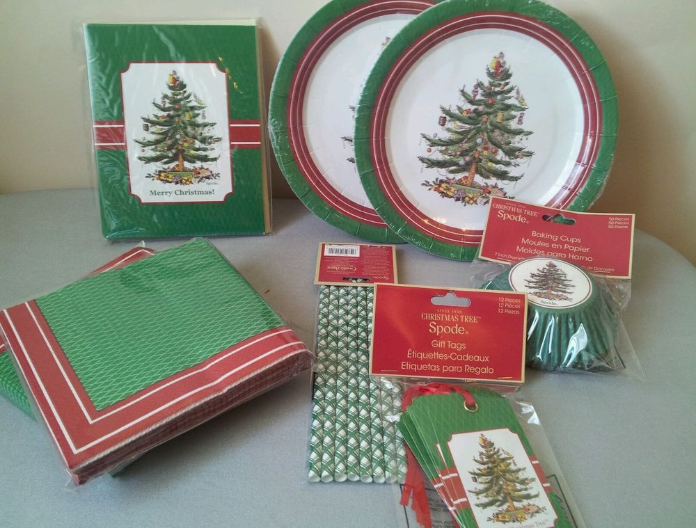 Spode Christmas Tree cookie exchange party pack paper plate napkin cards #spode #Christmas