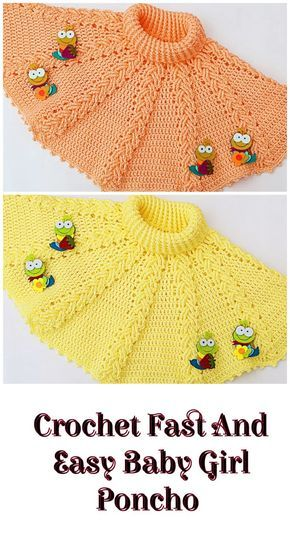 Crochet Fast And Easy Baby Girl Poncho #babyponcho