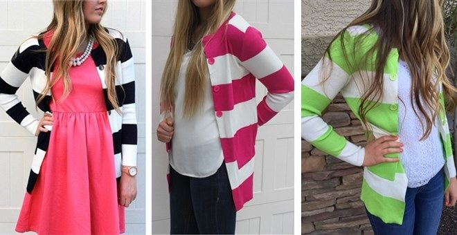 We can't say enough about how in love we are with our new Candy Colored Long Striped Cardis! If the bold colors and darling buttons and pockets aren't enough to put you head over heels, the quality will. Beautiful ribbing and gorgeous high quality knit fabric. Seriously, is there anything more classy than a thick stripe statement cardi? Oh, and did we mention the length of these? They fall just below the hips for the perfect coverage.One size: Fit sizes 0-8 comfortably.