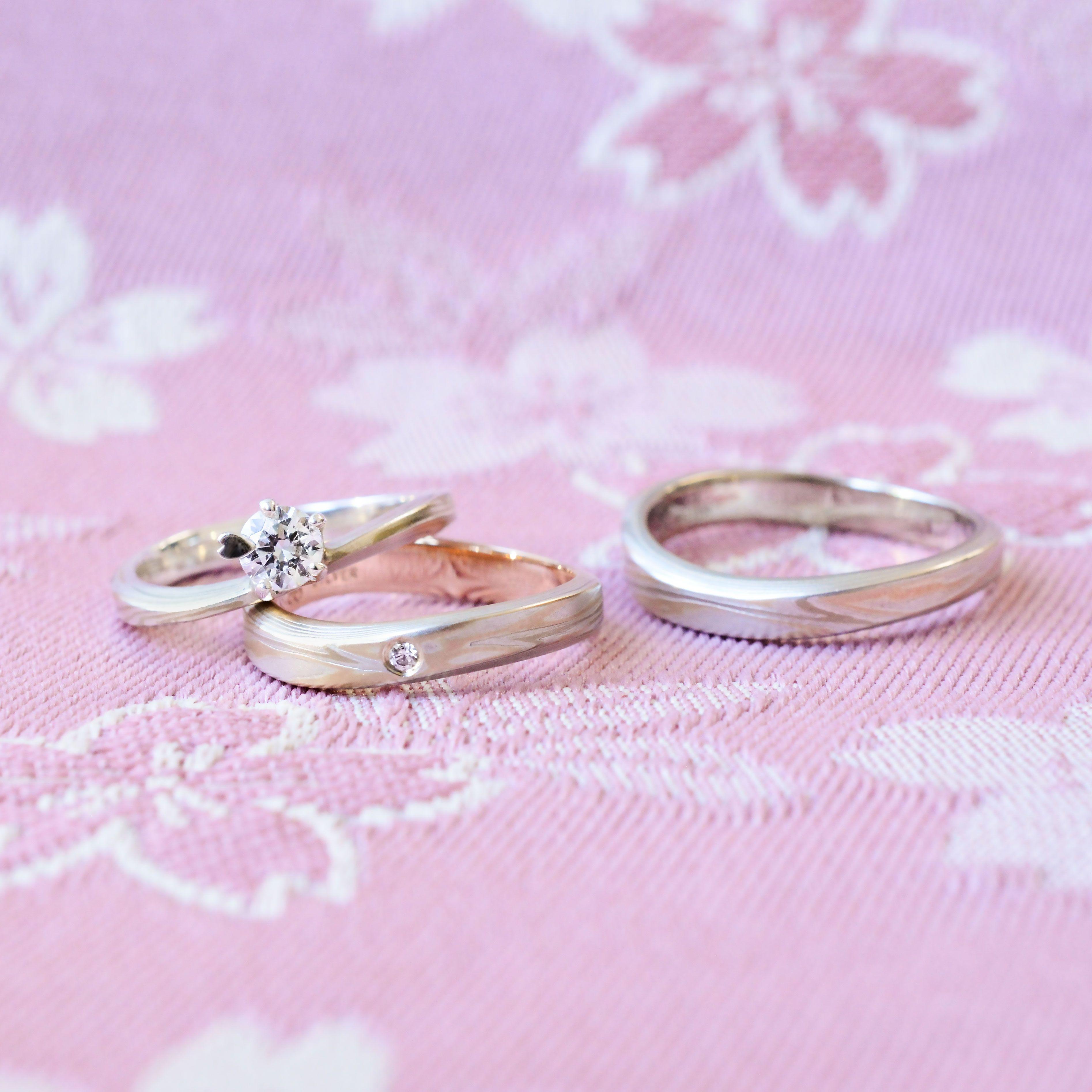 Mokume Gane Wedding bands [Koi-kaze] 木目金の結婚指輪「恋風 ...