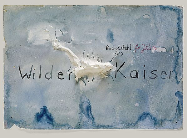 The limestone massif of the Kaiser mountain range in the Austrian Alps is composed of two ridge peaks, the higher of which is called Wilder Kaiser (Wild Emperor). Kiefer chose to represent the Wilder Kaiser with white acrylic emulsion primer that rises in relief from the center of the watercolor ground