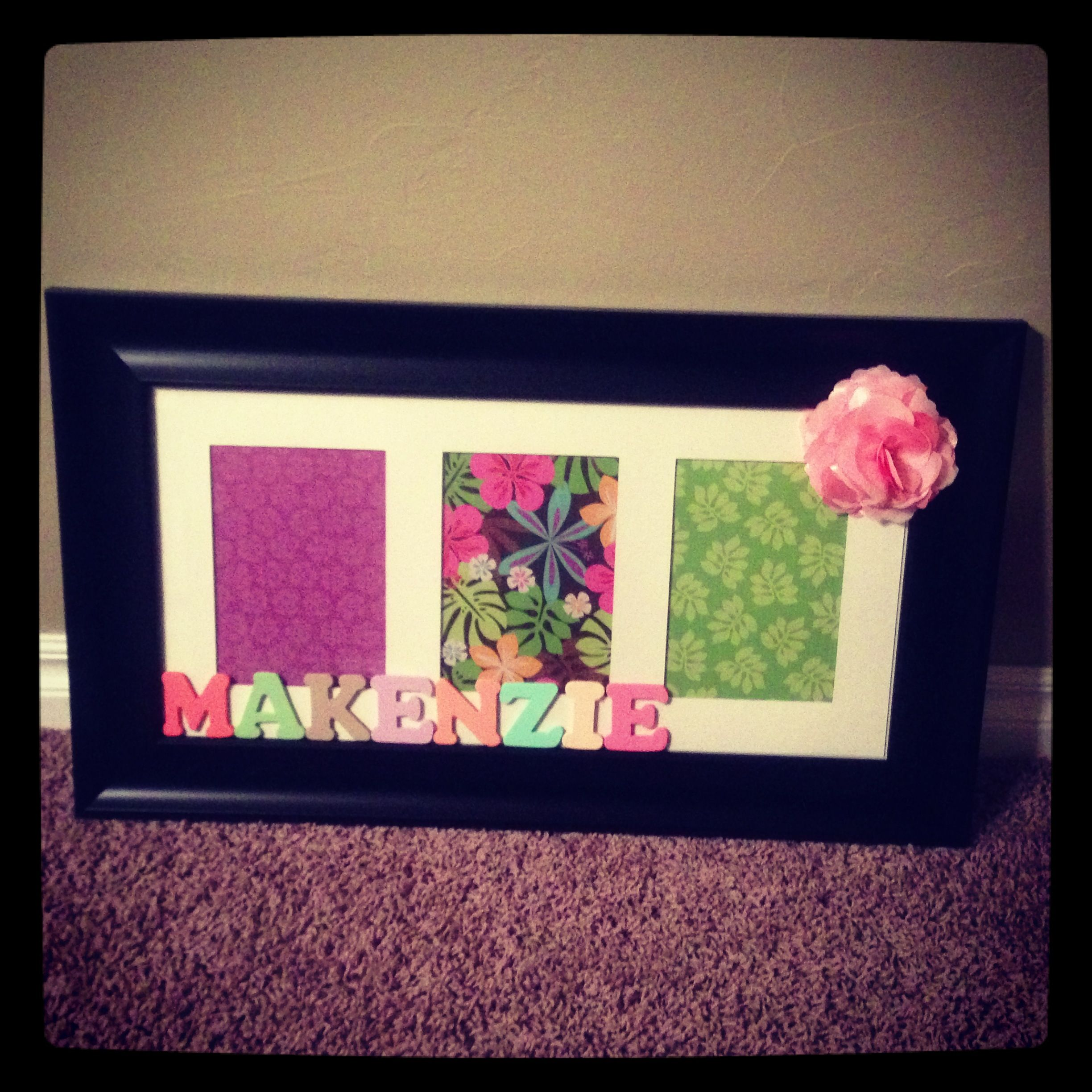 How to glue scrapbook paper to wood letters - Cute Way To Decorate A Kids Room Collage Frame Scrapbook