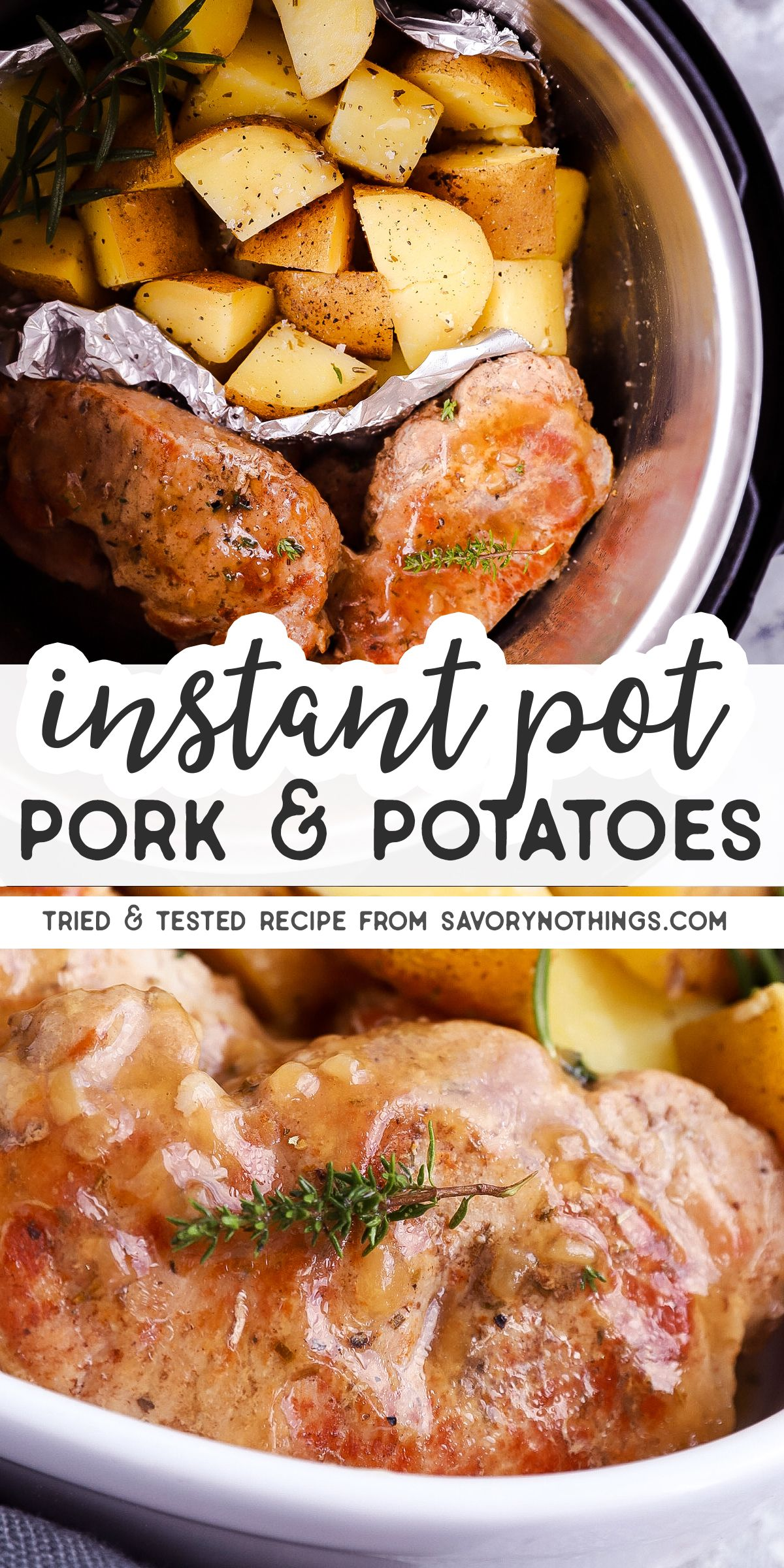 These Instant Pot Pork Chops and Potatoes are a weeknight dinner winner. Ready to serve in under an hour, it's quick and easy to make!  Pork chops, gravy and potatoes come together in the Instant Pot with just a few pantry staples to make a delicious meal. | #instantpot #instantpotrecipes #instantpotporkchops #instantpotmeal #porkchops #porkchops #dinnerrecipes #dinner #dinnerideas #easydinner #easyrecipe