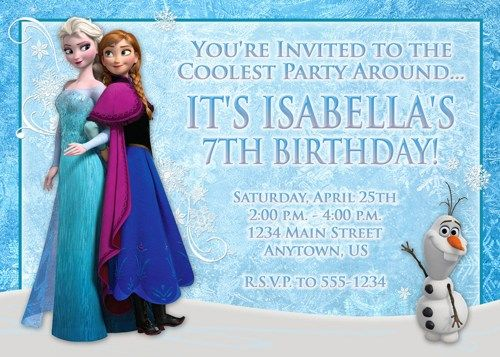 Frozen Custom Photo Birthday Invitation - Anna, Elsa, Olaf - You - invitation birthday frozen