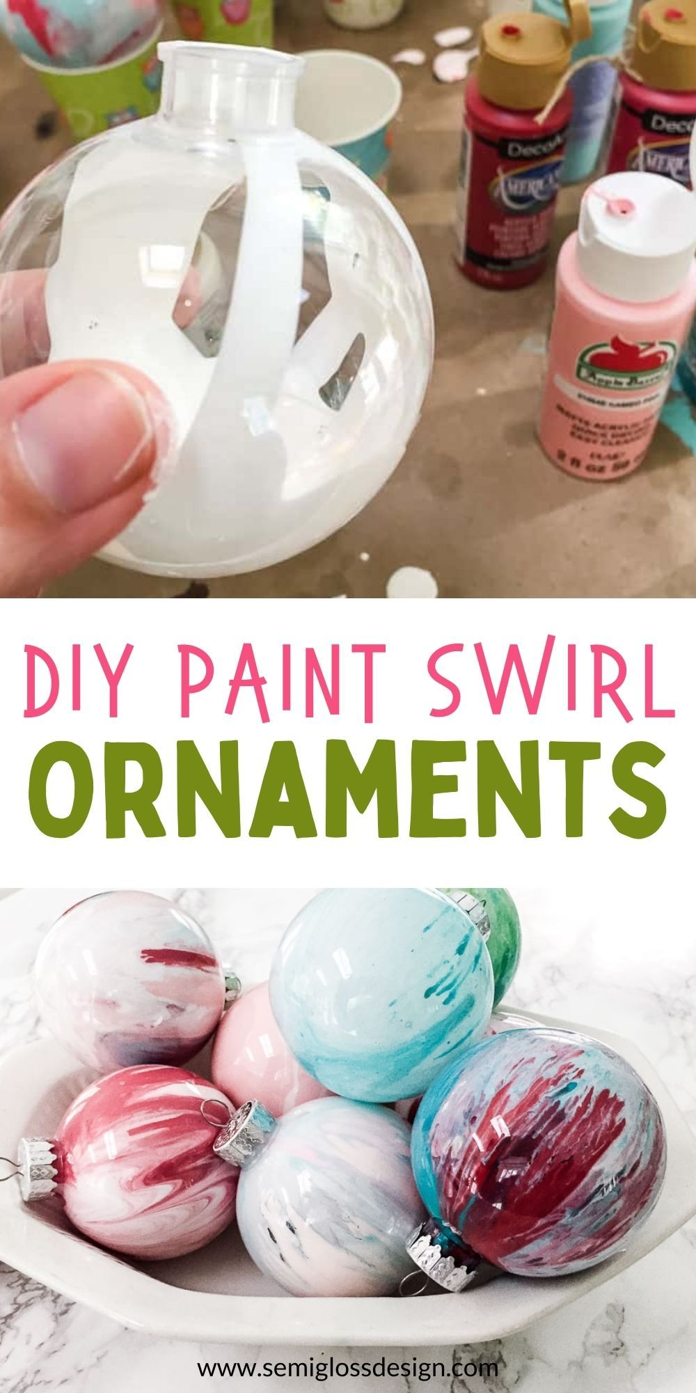 Make Your Own Christmas Ornaments Paint Swirl Ornament Clear Christmas Ornaments Clear Christmas Ornaments Diy Easy Christmas Ornaments