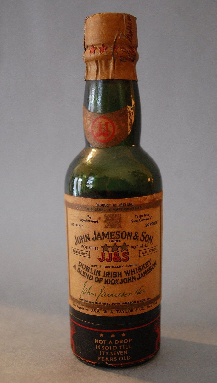 Jameson 1780 12 Year Old Bot 1980s Ireland