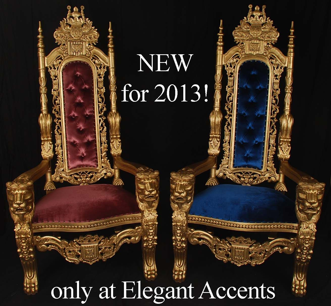 black velvet throne chair crate and barrel curran gold painted king lion chairs with purple or blue