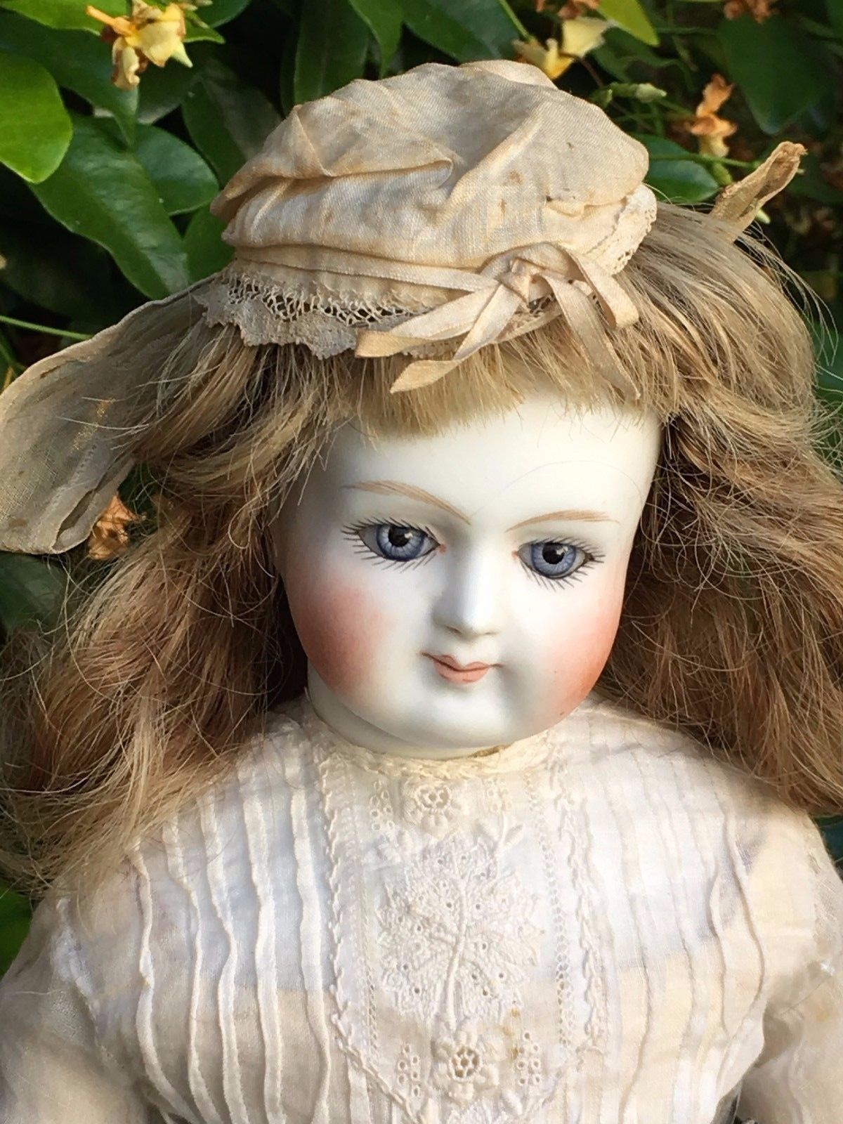 rare french fashion bisque head, certainly Bru, bisque arms, 18 inches tall