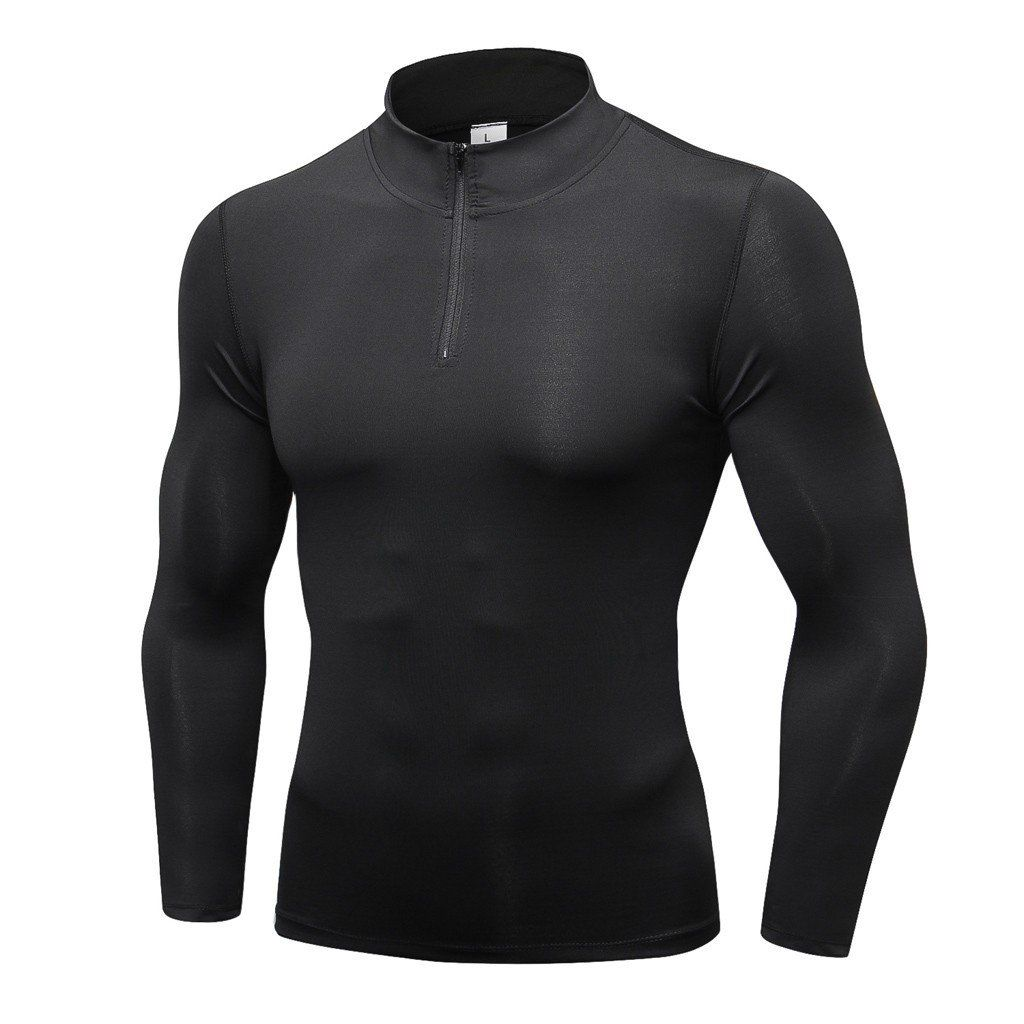 Men/'s Compression Hoodie Workout Gym Running Hooded Zip Up Long Sleeve Shirts