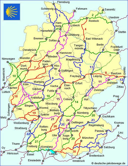 Deutsche Jakobswege Wege Ubersicht In 2020 Jakobsweg Deutschland Jacobsweg Pilgerreise