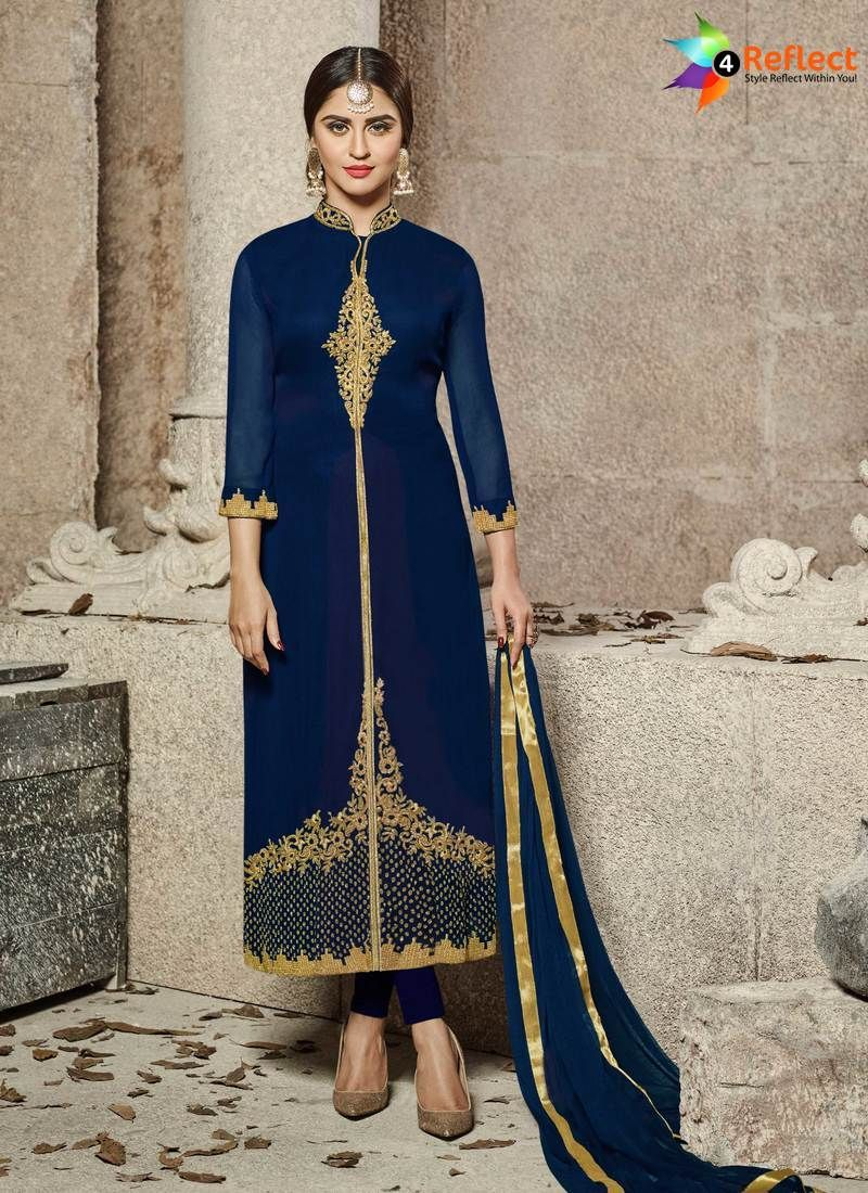 eaad596ef2 BOLD NAVY BLUE COTTON PAKISTANI FRONT OPEN SUIT | Salwar Suits in ...