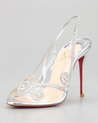 c6871a8f14ad Au Hameau Clear Crystal-Swirl Red Sole Slingback by Christian Louboutin at Neiman  Marcus.