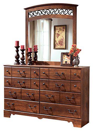 ashley furniture signature design timberline dresser mirror 8 drawer bureau warm brown