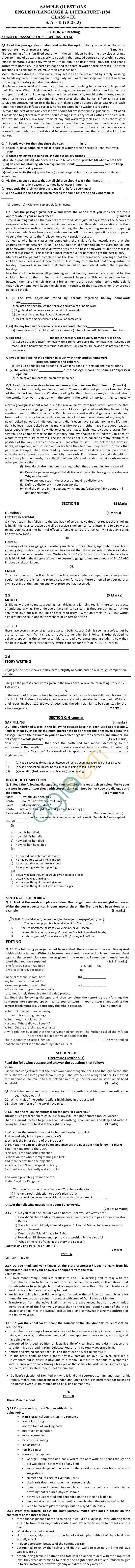Cbse Board Exam Sample Papers Sa Class Ix  English Lang  Lit