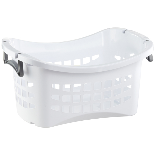 White Stackable Laundry Basket With Grey Handles The Container Store Laundry Basket Stackable Laundry Baskets Laundry Room Storage