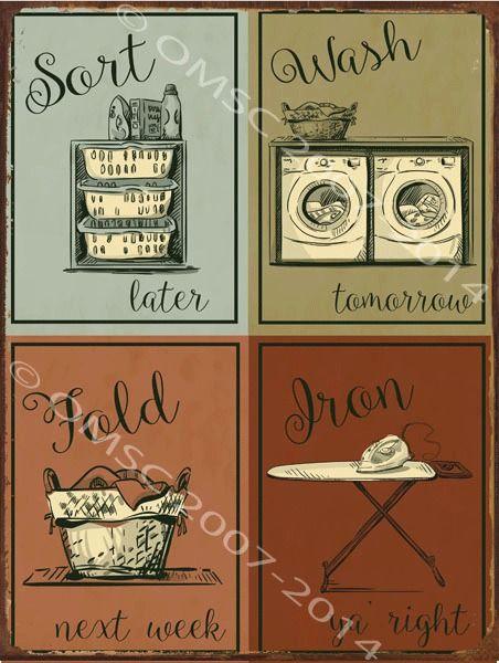 Metal Home Sign Decor Laundry Metal Sign Sort Wash Fold Iron Humor Home Decor