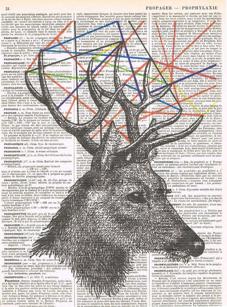 Deer Antique Book Page