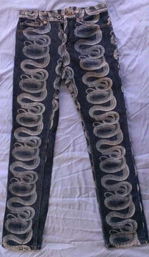 4d00db9e69f HYSTERIC GLAMOUR Rare Vintage Snake Print Skinny Denim Jeans Women Size XS-S  #HYSTERICGLAMOUR #SlimSkinny