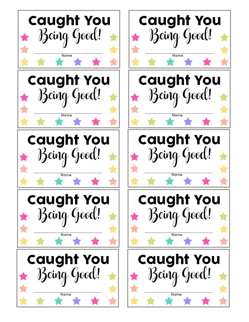 Caught You Being Good Punch Cards Behavior Punch Cards Behavior Cards Kids Rewards