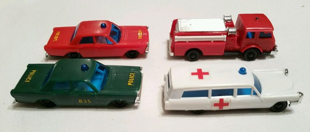 Lot of Four Gordy Mite Vehicles AmbulanceFiretruck