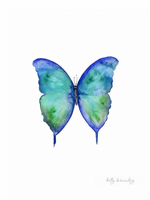 Mariposa Azul Butterfly Blue Green Teal Purple Watercolor
