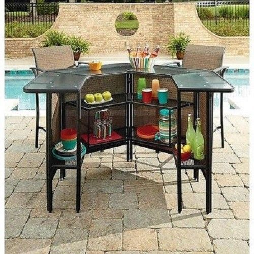 5 Piece Patio Bar Set Table Chairs Outdoor Bartender Deck