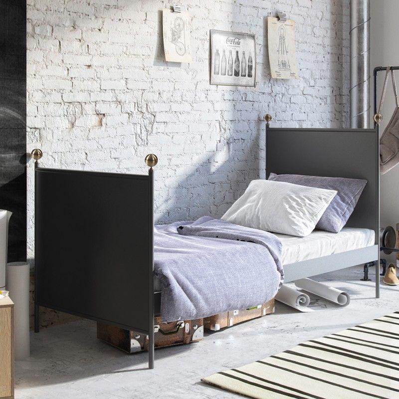 Lamin Metallbett Eisenbett Einzelbett 90x200 Schwarz Retro Bett Mobel Bett Haus Deko