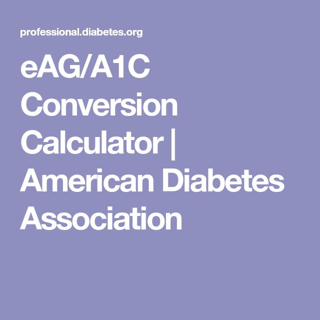 eaga1c conversion calculator american diabetes association
