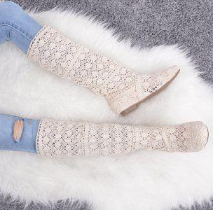 Bezowe Azurowe Kozaki Koronkowe Buty Damskie Styl 6043630328 Oficjalne Archiwum Allegro Knee High Sock High Socks Fashion
